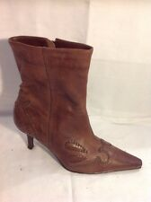Essence Brown Ankle Leather Boots Size 4