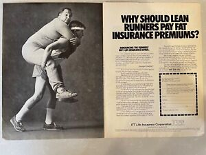 ITT Life Insurance Distance Running Ad  Why Should Lean Runners Pay Fat…1982