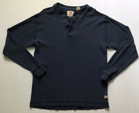Vintage Levi's Men's Sz S Blue Long Sleeve Ribbed Henley Shirt Made In USA