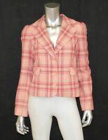 JUICY COUTURE Pink/Purple Plaid Print Wool Blend Cropped Blazer Jacket sz S