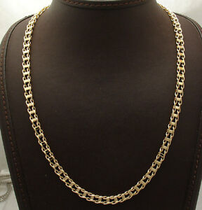 """Mens 20"""" Italian Railroad Chain Necklace Lobster Clasp Real 14K Yellow Gold"""