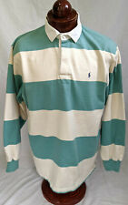 New listing POLO RALPH LAUREN Long Slvd, Hard Collar Polo/Rugby in Blue & Beige, Mens sz L
