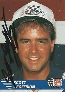 SCOTT GEOFFRION AUTOGRAPHED 1991 PRO SET RACING NHRA PHOTO TRADING CARD #44