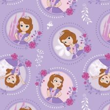Princess Sofia the First Floral Frame Characters Purple Disney Cotton Fabric FQ