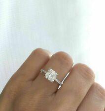 14k White Gold 2.50 Asscher Cut Diamond Solitaire Engagement Ring !!