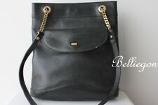 BALLY Original Vintage BLACK LEATHER Hand BAG Chain Strap