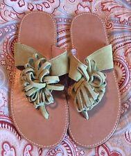 c0e8e83ec5dab L AMOUR Sandals Girls Green Leather Flip Flops Size 4 Boutique Shoes