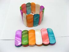 12 Colourful Dyed Natural Sea Shell Bracelets sh-b16