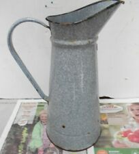 "Antique FRENCH  ENAMELEd gray Body PITCHER Jug  15"" H"