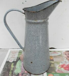 """Antique FRENCH ENAMELEd gray Body PITCHER Jug  15"""" H"""