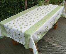 Tischdecke Provence 150x300 cm grün weiß aus Frankreich, pflegeleicht, bügelfrei