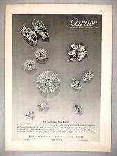 Cartier PRINT AD - 1950 ~~ jewelry, jeweler, brooch, clip, earrings