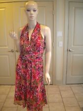 NEW DIRECTIONS MULTI-COLOR FLORAL PRINT RUCHED SLEEVELESS DRESS 10