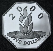 1999-2000 BARBADOS FIVE DOLLARS - .925 STERLING SILVER PROOF - 8 Sided Coin