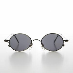 Ovalado Metal Gafas 90s Vintage Gafas de Sol Gunmetal / Gris Lente - Greco