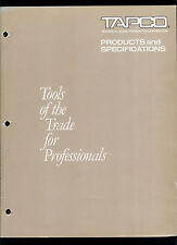 Rare Vintage Original Factory Tapco Catalog Mixers & Equalizers Products & Specs