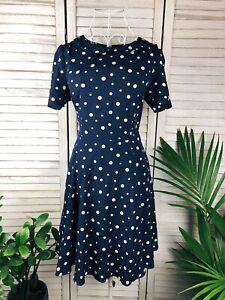 Princess Highway Blue Navy Polka Dot Dress, Vintage Style, Size 10