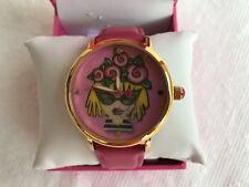 NEW Auth Betsey Johnson CHANGING EMOJI FACE PINK LEATHER BAND WATCH-BJ00496-53BX