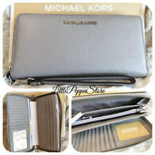 NWT MICHAEL KORS PEBBLED LEATHER JET SET TRAVEL CONTINENTAL WALLET IN PEARL GREY