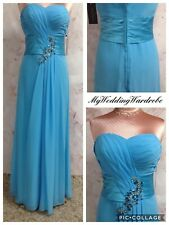 BLUE CHIFFON EVENING DRESS LONG STRAPLESS EMBELLISHED BRIDESMAID BALLGOWN 10 NEW