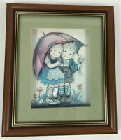 wall pictures vintage 3d shadow box wood framed art glass boy girl umbrella bi