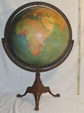 "18"" Antique W & A K Johnston / A.J. Nystrom Terrestrial World Globe w Stand 1926"