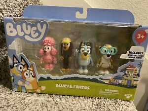 BLUEY And Friends Family Toy Mini Figures Bluey Snickers Coco Honey 4 Pack NIP
