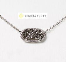 "Kendra Scott Womens Elisa DRUSY Necklace 15"" Platinum Drusy/rhodium"