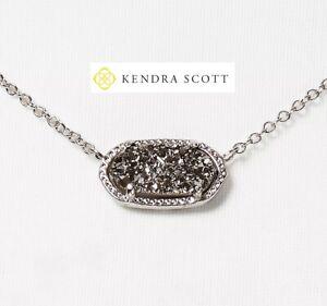 NEW Authentic KENDRA SCOTT Elisa 080 R Necklace Rhodium Platinum Drusy Pendant