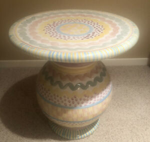 Mackenzie Childs Ceramic Pedestal Side Table - Retired Pattern