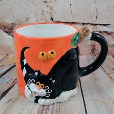 Halloween Home Décor Coffee Mug Tea Cup Black Cat n Pumpkin Head Figural Cat's