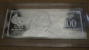 2017 State Silver 100 Dollar Bill .999 Fine Pure Silver