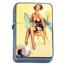 Windproof Refillable Fliptop Oil Lighter Classic Vintage Model Pin Up Girl D-190