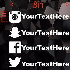 2x Decals (Social Media Userame) Instagram, Snapchat, Facebook, Twitter