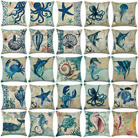 Ocean Animal Sea Theme Sofa Decor Cotton Linen Pillow Cases Throw Cushion Cover