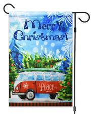 "NEW Merry Christmas Peace Bus Flag 12""X18"" Winter and Christmas Decorative Flag"