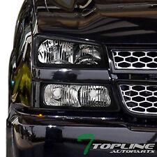 Topline For 2003-2007 Chevy Silverado Black Housing Headlights Signal Bumper Nb