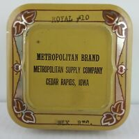Vintage Typewriter Ribbon Tin Metropolitan Brand Cedar Rapids, Iowa Royal #10
