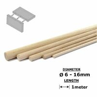 Beech Dowel Flutted Wood Rod Pegs - 1000mm length All Sizes