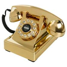 Wild & Wolf 302 Retro 1930's Brushed Gold Push Button Corded Telephone - New