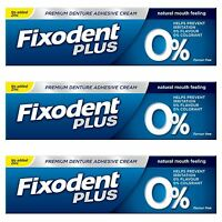 3 Fixodent Plus Zero Premium Denture Adhesive Natural 0% Flavour & Colourant 40g