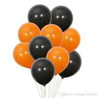 BALLON ORANGE ET NOIR LOT DE 10 - DECORATION DE FETE HALLOWEEN