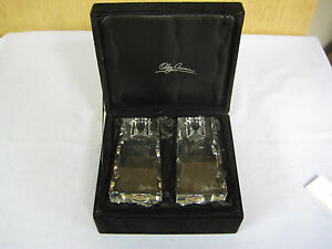 NEW NIB, Two (2) Oleg Cassini 117441 Premiere 4-Inch Crystal Candlestick Holders