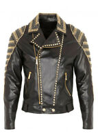 New Men's Black Golden Silver Studded Zippered Classic Cow Biker Leather Jackets