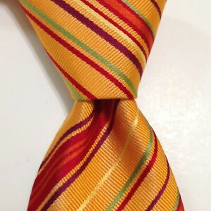 HERMES 758788T Men's Silk XL Necktie FRANCE Luxury STRIPED Orange/Multi EUC Rare