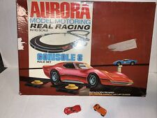 1970 Aurora Model Motoring Real Racing Console 8 Race Set With 2 Slot Cars
