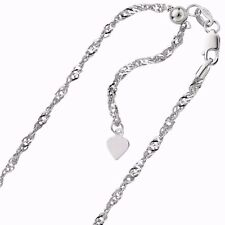 """1.00mm Solid Adjustable Singapore Chain Necklace REAL 10K White Gold 22"""" 1.9gr"""