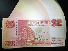 Singapore $2 boat series orange red banknote 1991 Two Dollar UNC excellent