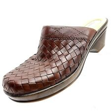 Bass Trisket Womens Size 8 M Brown Mules Woven Slip On Casual Shoes