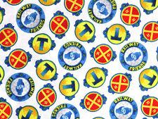 FAT QUARTER THOMAS THE TANK FABRIC TRAIN FAST EXPRESS RAILROAD RAILWAY COTTON FQ